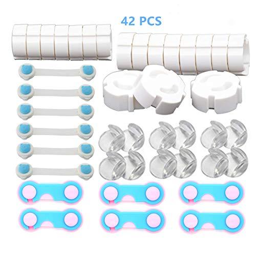 42 Stücke Kinder Sicherheitsset Baby Sicherheits Set, Erstausstattung Baby mit 12 Eckenschutz, 18 Steckdosenschutz, 6 Universal Sicherung, 6 Schranksicherung