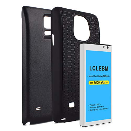 Note 4 Battery 7500mah LCLEBM Extended Battery Replacement with Black Back Cover and TPU Case (Up to 2.3X Extra Battery Power) for Galaxy Note 4 N910,N910V,N910A,N910T,N910P,N910R4,N910U 4G LTE,N910F