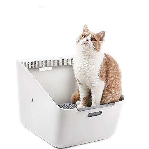 DHTOMC Lettiera per Gatto Cat igienici Grande lettiera Anti-Spruzzi Deodorante Automatico Semi-Chiuso lettiera for Il Gatto Litter Vassoio governare Scatole (Color : White, Size : 50.7x37.4x35cm)