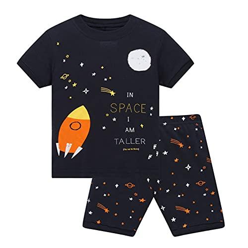 Los pijamas de los niños se ponen el dinosaurio para niños pequeños ropa de dormir en el planeta oscuro Camiseta de manga corta de algodón + pantalones cortos, ropa de dormir/conjuntos de ropa