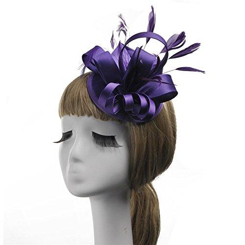 Bandeau de fascinateur de Cheveux Pinces à Cheveux Vintage Femmes Fascinator Cocktail Party Chapeau Plume Fleur Pince à Cheveux Hairband Bandeau Marié