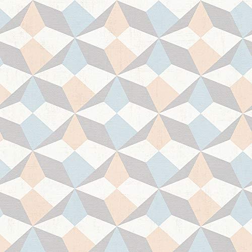 Vliestapete Vintage-Tapete 341332 34133-2 A.S. Création Scandinavian Style | Beige/Crème Blau Grau | Muster (21 x 29,7 cm)