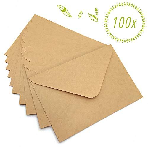 Japun - Sobres (100 piezas) hechos de papel kraft vintage/sin ventana (C6-163 x 112 mm)
