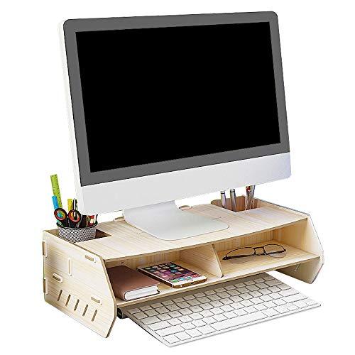 Monitorhouder, 2 niveaus, riser monitor, bureau-organizer, opbergruimte voor toetsenbord, afgeronde hoeken, gemakkelijk te monteren, ideaal voor thuis of op kantoor, A+ L49xW23xH12CM Een