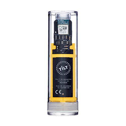 TILTTM Hydromètre et thermomètre Jaune – Contrôle total de la coloration grâce à la technologie radio – Densité et température du téléphone portable via application pour braser et hobby