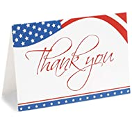 American Flag Thank You Cards with Envelopes (4 x 6 in, 120 Pack)