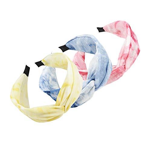 3 Stück Stirnbänder für Damen, Batik, breite Haarbänder, gedrehte Haarbänder, Kopfbedeckung, Sommer-Haarschmuck für Mädchen
