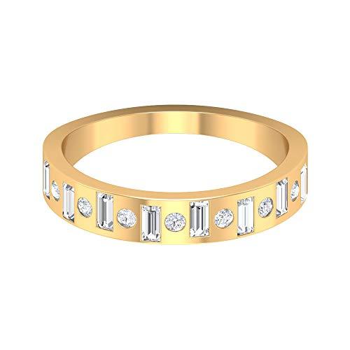 Rosec Jewels- Anillo de boda nupcial con diamantes HI-SI 0,62 quilates, anillo de corte baguette, anillo de diamante, anillo de aniversario para mujeres, 14K Oro amarillo, Size:EU 68