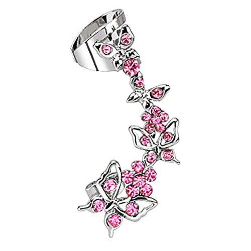 Taffstyle® Knorpel Schmuck Ohrklemme Ohrring Ohrstecker Helix Cartilage Piercing ear cuff mit Kristall Schmetterling - linkes Ohr - Pink