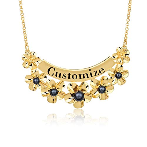 VAWAA Personalized Name Necklaces Gold Color Alloy Flower Custom Letter Pendants Necklaces for Women Mother New