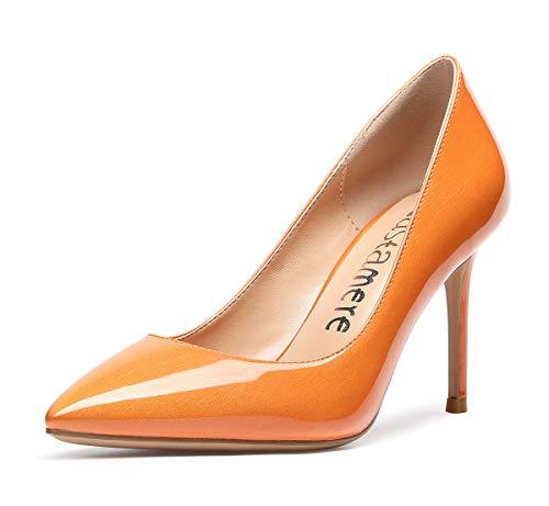 CASTAMERE Scarpe col Tacco Donna Tacco a Spillo 8.5CM Alto Tacco Perlescente Arancione Scarpe EU 40.5