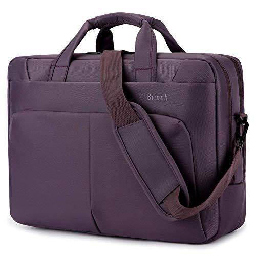 BRINCH Laptop Bag 17.3 Inch Water Resistant Nylon Messenger Bag Travel Briefcase Laptop Shoulder Bag Durable Notebook Tablet Sleeve Case w/Multiple Compartments for Business/College/Women/Men, Purple
