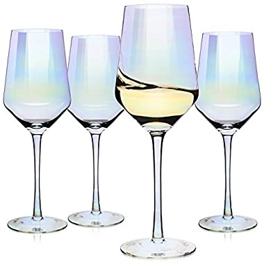 Wine Glasses, Large Red Wine or White Wine Glass Set of 4 – Unique Gift for Women, Men, Wedding, Anniversary, Christmas, Birthday - 17oz, 100% Lead Free Crystal