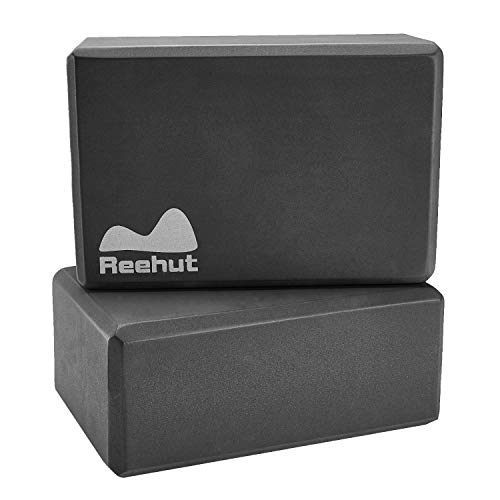 "REEHUT Yoga Blocks 2 Pack 9"" x 6"" x 3"" High Density EVA Foam Blocks to Support and Deepen Poses, Yoga Blocks Set to Improve Strength and Aid Balance and Flexibility - Lightweight (Black)"