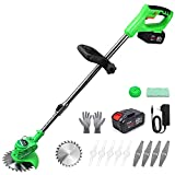 Cordless String Trimmer Battery Powered, 42V Lightweight Weed Wacker with 2 Li-Ion Battery, 1 Charger and 11 Cutting Blades, 47 Inch Powerful Weed Eater for Lawn, Yard,Garden, Bush Trimming & Pruning