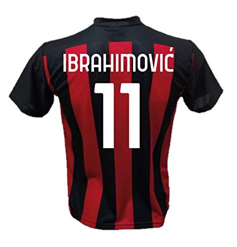 DND Di D'Andolfo Ciro Maglia Calcio Zlatan Ibrahimovic 11 A.C. Milan Replica autorizzata 2020-2021 Taglie da Bambino e Adulto (6 Anni)