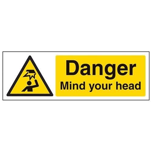 VSafety Danger Mind Your Head Sign - Landscape - 300mm x 100mm - Self Adhesive Vinyl