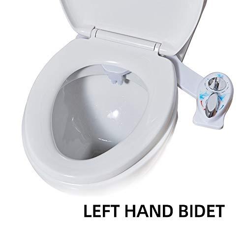 Dusch-WC Bidet Linke Hand, WC Bidet Mit Selbstreinigende Doppeldüse, Cold/Heiß Water Bidet (Ohne Strom), Wassertemperaturregelung, Intimreinigung Mit Selbstreinigende Zur Desinfizierung des Untens