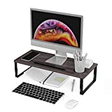 Kavalan Wood Monitor Stand Riser Organizer with Phone/Tablet Holder & Office Gadget Slots, Height Adjustable Computer Stand for Laptop, Monitor, Gaming PC, Printer, Computer Monitors_Oak