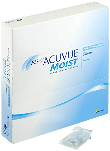 Acuvue 1-Day Moist for Astigmatism Tageslinsen weich, 90 Stück / BC 8.5 mm / DIA 14.5 / CYL -0.75 / Achse 180 / -3 Dioptrien