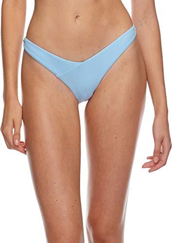 Body Glove Women's Dana Low Rise Cheeky Bikini Bottom Swimsuit, Ibiza Ribbed Angel, Large