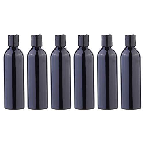SOLUSTRE 6 Stück Reise-Flaschen Kunststoff Leere Reiseflaschen tragbare Toilette Flüssigkeit Behälter mit Presse Disc Deckel für Shampoo Emulsion Kosmetik 250ml Schwarz