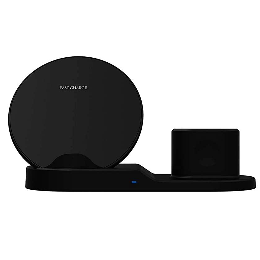 shiYsRL Wireless Charging Stand,3-in-1 9V Quick Charge Wireless Phone Charger Holder Stand for iWatch Airpods Black