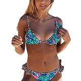 Vobery Traje de baño de 2 Piezas con Cuello en V y Estampado Floral para Mujer, Conjunto de Bikini con Volantes, Traje de baño (Verde, L)