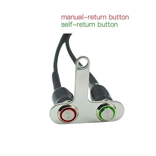 JIANGNANCHUN Schakelpook voor motorfietsschakelaar, roestvrij staal, 12 V, verstelbare regenschakelaar, aan-/uitschakelaar met LED (rood en videriteit) Green and Red