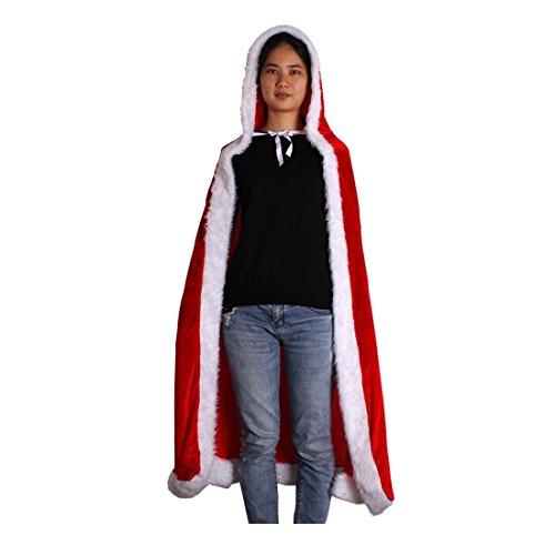 Andux Femmes Red Capuche Noël Cap Cape Costume de déguisement 150cm/SDDP-01