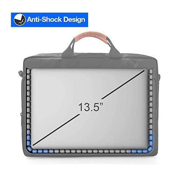 """tomtoc 13.5 Inch Laptop Shoulder Bag for 13-inch MacBook Pro, MacBook Air, Surface Book, Surface Laptop, Multi… 4 Compatibility: External dimensions- 14.17"""" x 10.43"""" x 2.76""""; Universal fit 13-inch MacBook Pro, MacBook Air, 12.9"""" iPad Pro, Microsoft Surface Book, Surface Laptop, Dell XPS 13, and more 13-inch laptops ultrabooks chrome books Ultra Protection: tomtoc laptop shoulder bag features protective padding at the bottom of the individual laptop compartmentand ultra-thick, yet lightweight protective cushioning to ensure your laptop will remain safe from drops, bumps, dents, scratches and spills, like the car airbag Well-organized: The main compartment features a laptop slot and a tablet slot for up to 11"""" iPad Pro with smart case & keyboard. Two front pockets With small and large pockets, and multiple elastic bands to make it easier than ever to organize accessories such as charger, cable, mouse, hub etc."""