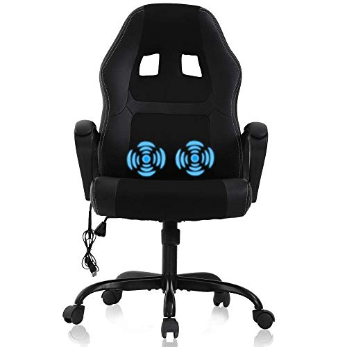 Gaming Chair Computer Chair Office Chair Ergonomic High Back Massage PC Desk Chair with Lumbar Support & Padded Armrest Racing Style Cheap Adjustable Swivel Chair for Women Men Adult, Black