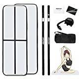Gymnastics Air Mat, inflatable air Tumble Track Tumbling Mat Floor Mats With Electric Air Pump (10ft*3.3ft*4in(3*1*0.1), Black)