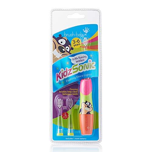 Brush-Baby KidzSonic Elektrische tandenborstel voor kinderen 3-6 jaar, inclusief 3 kleine borstelkoppen met zachte vibrerende borstelharen - roze