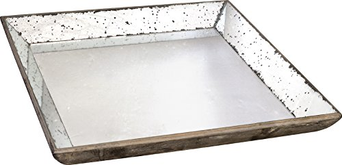 """Home Decorators Collection Large Roberto Glass Tray, Large 24""""x24"""", Antiqued Mirror"""