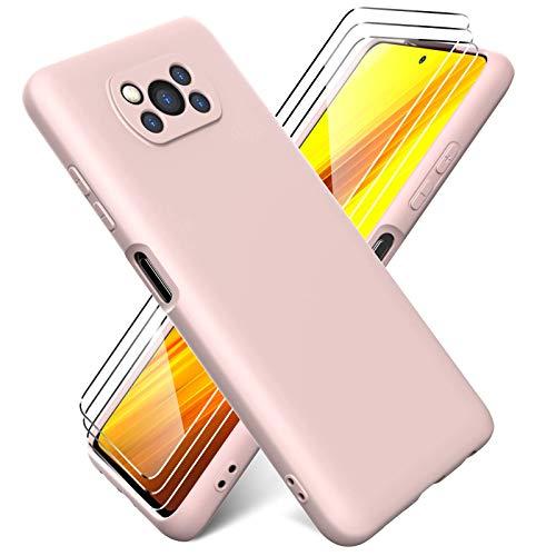 Ikziwreo - Funda Compatible con Xiaomi Poco X3 NFC + Protectores de Pantalla Templados [3 Paquetes], Carcasa de Silicona Líquida Gel Ultra Suave Funda con tapete de Microfibra Anti-Rasguño - Rosado