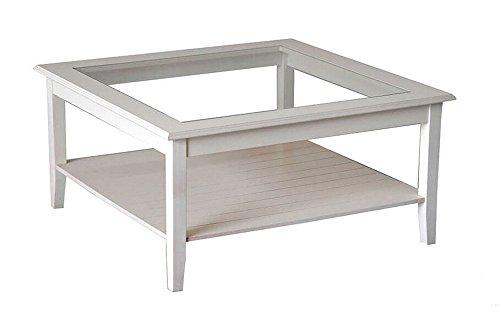 Table de salon en bois massif laqué blanc avec plateau en verre. Classique et moderne