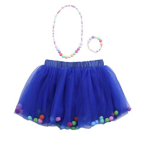 QinMM Falda + Pulsera + Collar Niña Chicas Enaguas Tutú Vistoso Vestir Ropa de Baile Disfraz