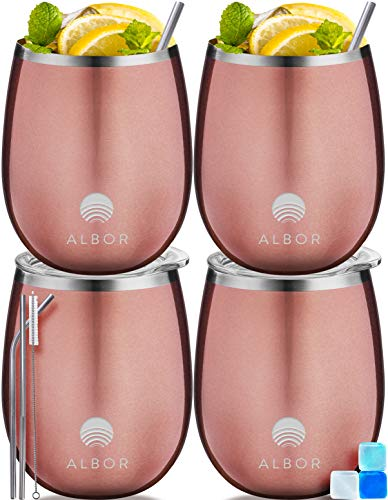 ALBOR Triple Insulated Wine Tumblers with Lids and Straws Rose Gold Wine Tumbler Set (12 Oz, 4 Pack)