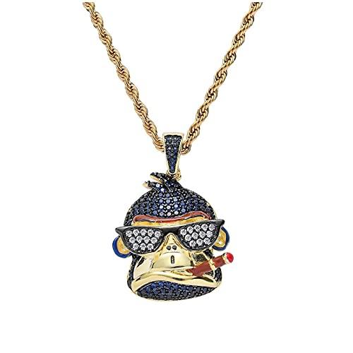 Cubic Zircon Iced Uhren Gold Mode Cartoon Monkey Smoke Anhänger Halskette Hip Hop Schmuck Statement Halsketten für Mann Frauenlänge: 60cm