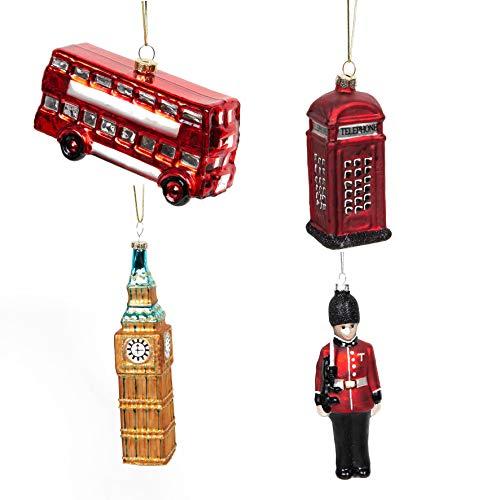 Widdop Weihnachtsbaum-Anhänger London (4 Stück: Doppeldecker-Bus u.a.) Christbaumschmuck