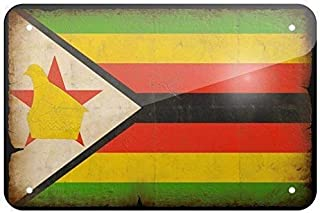 9Polar Bear& Metal Sign Zimbabwe Flag with a Vintage Look, Small 8x12 Inch Metal Tin Sings