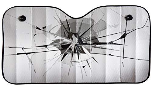 """OK Cars AZ-SAA-047 Auto Sonnenschutz Frontscheibe, Sonnenblende für die Windschutzscheibe, Frontscheibenabdeckung mit Motiv""""Glas"""", Maße: 130x70cm"""