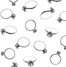 Super Z Outlet Silver Faux Diamond Engagement Rings for Wedding Table Scatter Decorations, Party Supply Favor Accents, Cupcake Toppers, Arts & Crafts (12 Pack) (12 Pack)