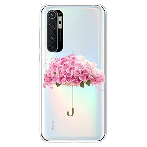Miagon Transparent Hülle für Xiaomi Mi Note 10 Lite,Rosa Rose Muster Kreativ Süße Durchsichtig Klar Soft Ultra Dünn Silikon Case Cover Schutzabdeckung