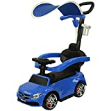 Evezo Officially Licensed Mercedes Benz C63 Coupe w/ Canopy Kids Ride On Push Car Foot to Floor Toy w/ Safety Bar & Cup Holder (Blue)