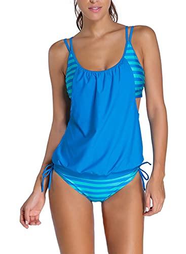 Aleumdr Tankini Damen bauchweg Bademode Set zweiteilig Push up mit Einstellbarer Bikinislip Tankini Top Soft Cups Hellblau M