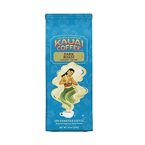 Kauai Hawaiian Ground Coffee, Koloa Estate Dark Roast (10 oz Bag) - 100% Premium Gourmet Arabica Coffee from Hawaii's Largest Coffee Grower - Bold, Rich Blend