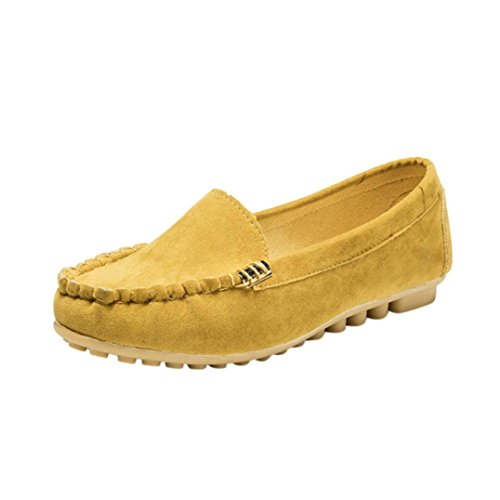 VJGOAL Damen Freizeitschuhe, Damen Mädchen Flats Comfy Ballett Schuhe Weiche Slip-On Casual Herbst Sommer Hause Bootsschuhe (39 EU, Gelb)