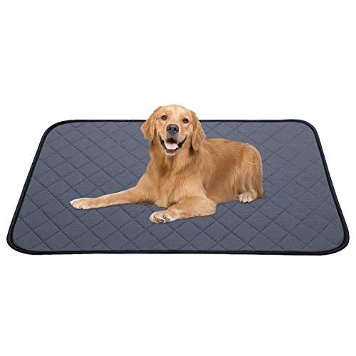 Dociote Trainingsunterlagen für Welpen Wiederverwendbare Extra groß - Waschbare Pads für Hunde Ultra saugfähige Hunde Pee Matte für Haustier Welpen Drinnen und draußen 140 * 90cm Grau